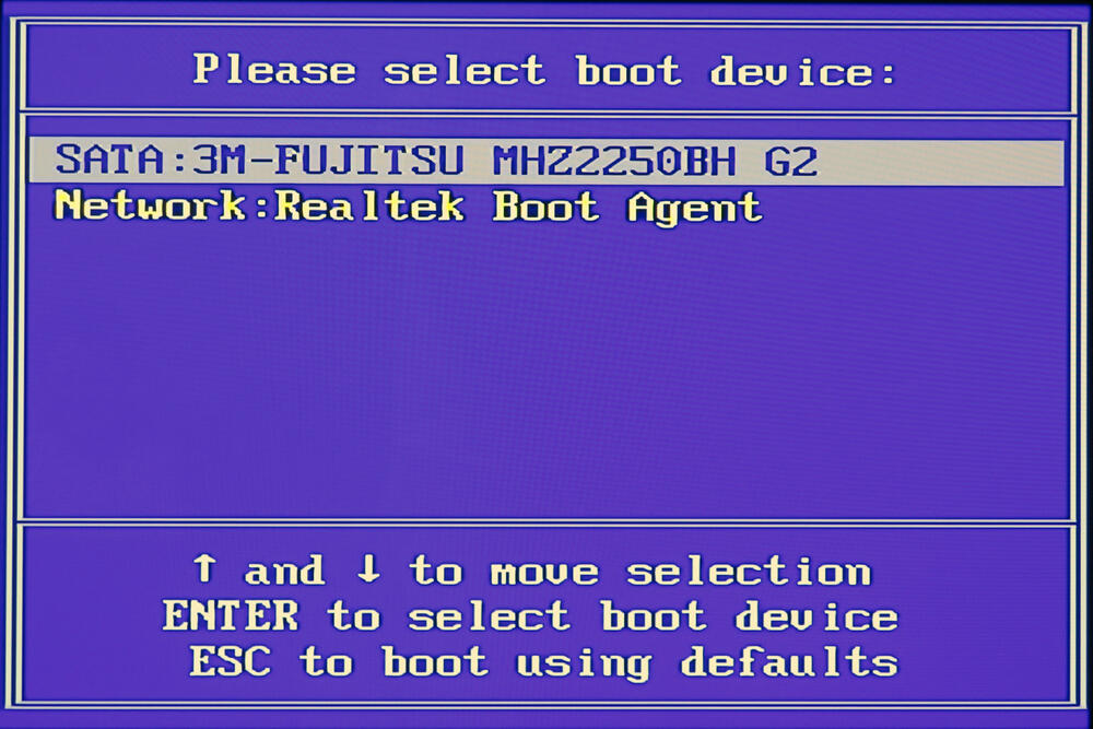 Boot device quick select